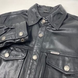 Harley-Davidson Leather Button Down Shirt Jacket